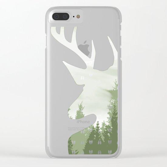 Green Deer Abstract Footprints Landscape Design Clear iPhone Case