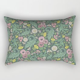 Pink pansy with dandelions and bee on gray background Rectangular Pillow