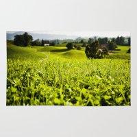 switzerland Area & Throw Rugs featuring Green Pastures: Spitzen, Switzerland.  by vagabond visuals
