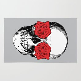 Skull and Roses | Grey and Red Rug