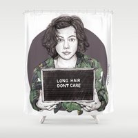 coconutwishes Shower Curtains featuring Long Hair Don't Care by Coconut Wishes