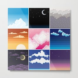 pixel clouds 3x3 Metal Print