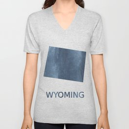Wyoming map outline Dark blue clouded watercolor Unisex V-Neck