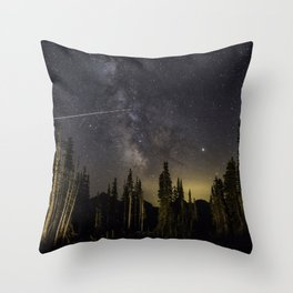 Night Sky over Paradise at Mount Rainier with Shooting Stars Throw Pillow