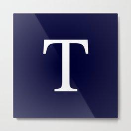 Navy Blue Basic Monogram T Metal Print