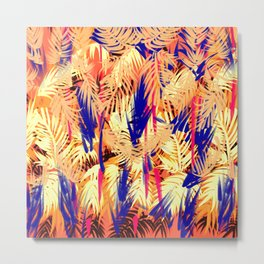Bamboo Orange, Purple Cream Metal Print
