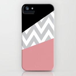 Coral & Black Chevron Block iPhone Case