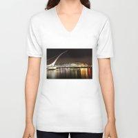 dublin V-neck T-shirts featuring Samuel Beckett Bridge, Dublin by Ciaran Mcg