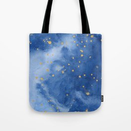 Blue and Gold Starry Night Tote Bag