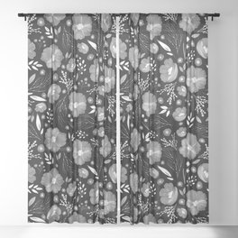 Whimsical Night Floral Pattern Sheer Curtain