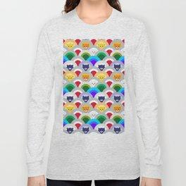 Japanese Wave Pattern cat Rainbow Long Sleeve T-shirt