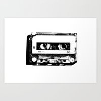 cassette Art Prints featuring cassette by Gabriel