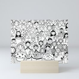 Matrioshka doodle Mini Art Print
