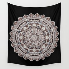 Copper Geo-Circle Black Background  Wall Tapestry