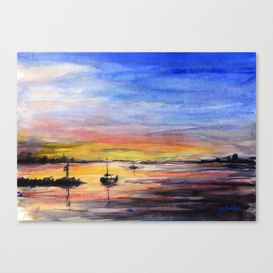 Sunset Watercolor Painting Landscape Art Canvas Print