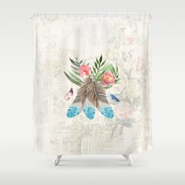 Feathers with Pink Flowers and Green Leaves Watercolor Design Shower Curtain