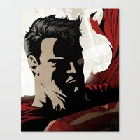 man of steel Canvas Prints featuring MAN OF STEEL by Taylor Callery Illustration