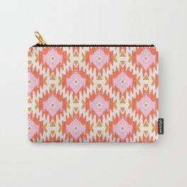 Orange Boho Ikat Pattern Carry-All Pouch