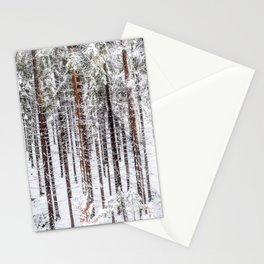 A snow covered forest Stationery Cards