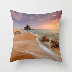 Brown Beach Throw Pillow