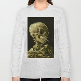 Skull of a Skeleton with Burning Cigarette Painting by Vincent van Gogh Long Sleeve T-shirt
