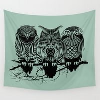background Wall Tapestries featuring Owls of the Nile by Rachel Caldwell