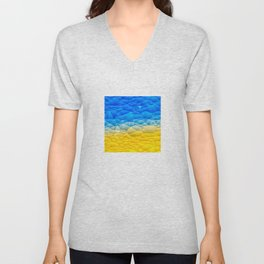 Sunshine and Blue Sky Quilted Abstract Unisex V-Neck