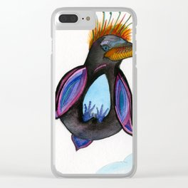 Penguin In The Sky Clear iPhone Case