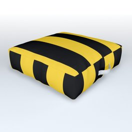 Yellow and Black Honey Bee Vertical Cabana Tent Stripes Outdoor Floor Cushion