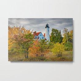 Michigan Upper Peninsula Lighthouse Autumn Great Lakes Landscape Metal Print