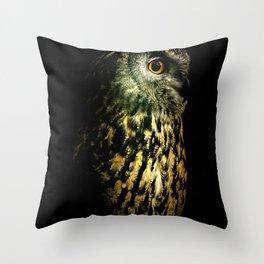 Eagle Owl Portrait Throw Pillow