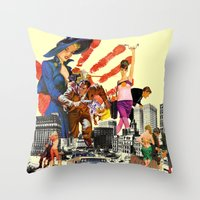 dick Throw Pillows featuring private dick by TRASH RIOT