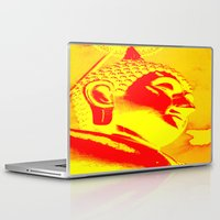 buddah Laptop & iPad Skins featuring Buddah Head 04; Orange Blush by Kether Carolus