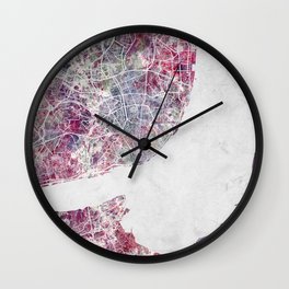 Lisbon Map Wall Clock