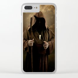 The wizard with skull pendant Clear iPhone Case