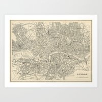 Vintage Map of London Art Print