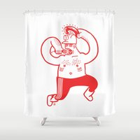 boss Shower Curtains featuring Hajer Boss by Krzysztof Kaluszka