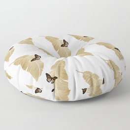 Butterfly & Palm Leaf, Gold Wall Art Floor Pillow