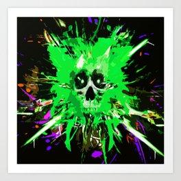 Splatter Skull (green) Art Print