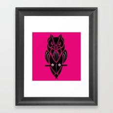 Owl - simple design - PINK Framed Art Print