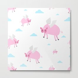 When Pigs Fly Funny Pink Flying Pig Art Print Metal Print