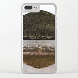 Symmetry in nature: wild flamingo in lake under green mountain in the Galapagos Islands Clear iPhone Case