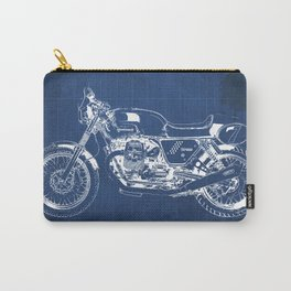 Motorcycle blueprint,2010, Moto V7, Clubman racer,poster,man cave decoration,vintage art,blue poster Carry-All Pouch