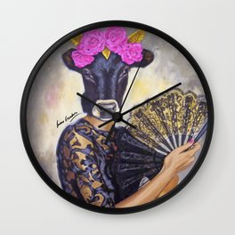 Flamenco-dancer with hand fan Wall Clock