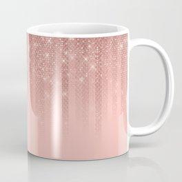 Glamorous Pink Rose Gold Glitter Striped Gradient Coffee Mug