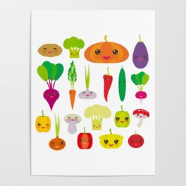 Kawaii vegetables peppers, pumpkin beets carrots, eggplant, red hot peppers, cauliflower, broccoli Poster