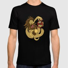 Lion Playing Mens Fitted Tee Black MEDIUM