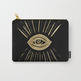 Evil Eye Gold on Black #1 #drawing #decor #art #society6 Carry-All Pouch