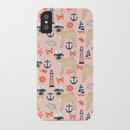 Pug nautical anchor sailing lighthouses dog breed pet portraits by pet friendly iPhone Case