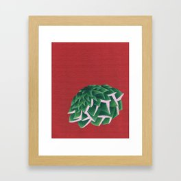 Succulent on Red Framed Art Print